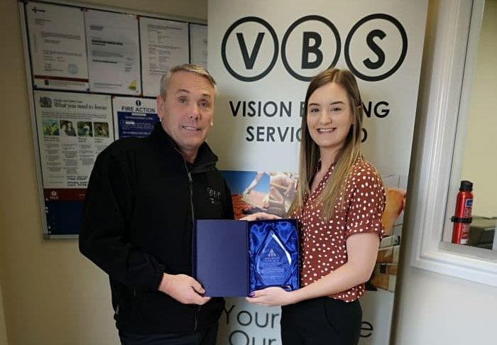 Northern Safety Ltd award Vision Building Services Ltd for 'Outstanding Commitment to Health and Safety'